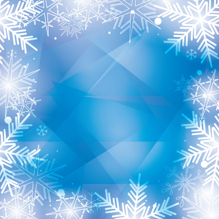 blue winter background with big beautiful snowflakes - vector
