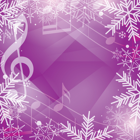bright violet vector background with music notes and snowflakes for christmas holidays Illustration