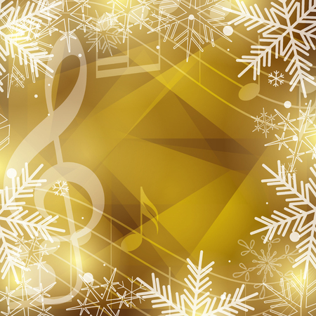 gold vector background with music notes and snowflakes for christmas holidays Foto de archivo - 113009778