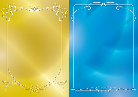 gold and blue vector backgrounds with white frames and gradient