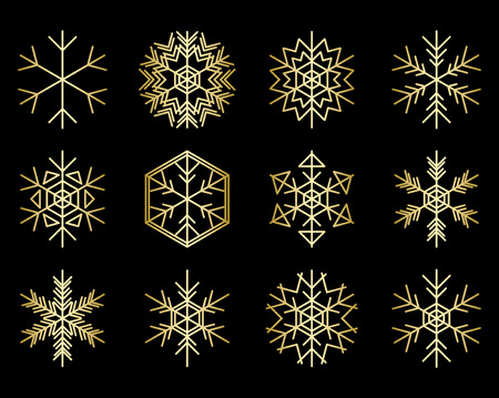 set of gold snowflakes on black - vector