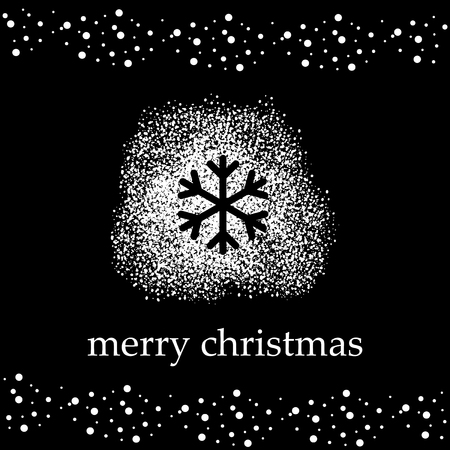 black vector background with white snow and silhouette of snowflake