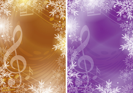 dark gold and violet vector flyers with music notes and snowflakes - christmas backgrounds