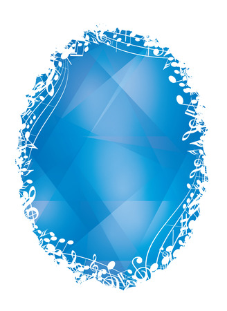 blue vector background with white oval music decorative frame and musical notes