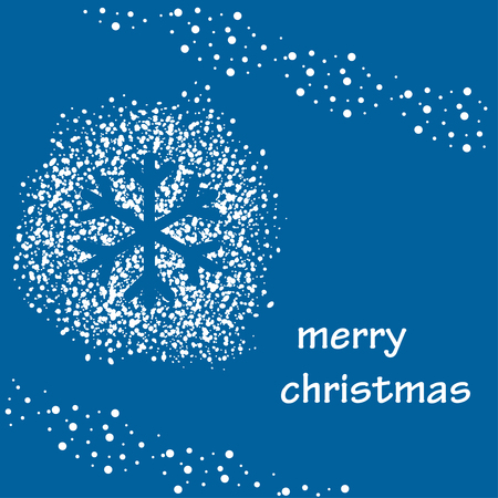 blue vector background with white snow and silhouette of snowflake