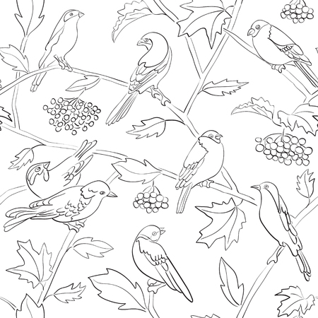 white vector seamless pattern with black silhouettes of birds and branches