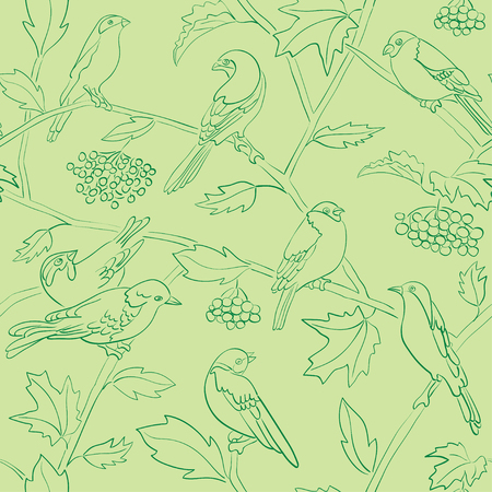 green vector seamless pattern with silhouettes of birds and branches