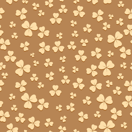 bright beige seamless pattern for saint patrick day - vector background with trefoil Illustration