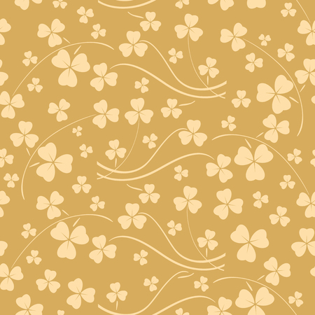 beige seamless pattern for saint patrick day - vector background with shamrock