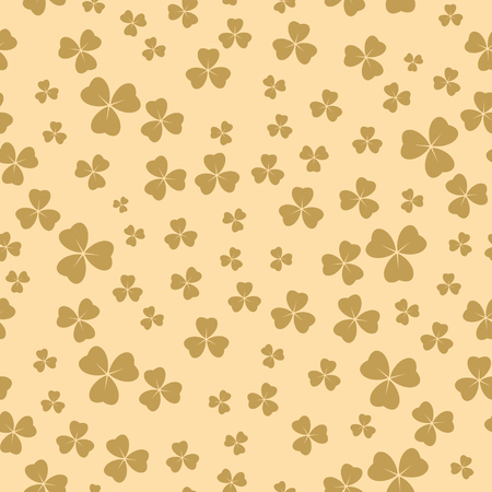 light beige seamless pattern for patricks day - vector background with shamrock