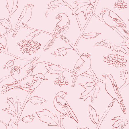 light rosy vector seamless pattern with silhouettes of birds and rowan branches