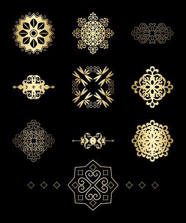 gold decorative geometric vector elements