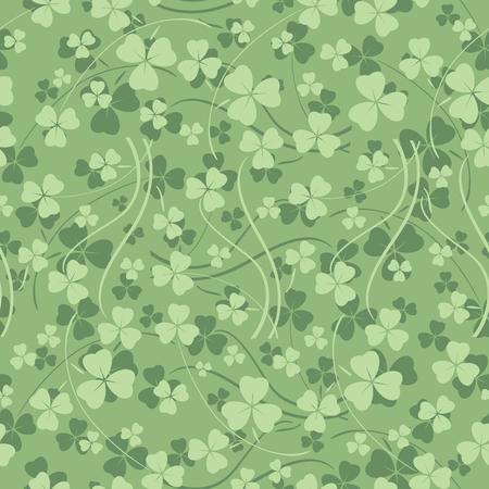 light green seamless pattern with trefoil - saint patrick vector background Illustration