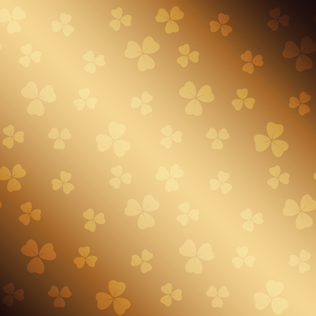 golden saint patrick vector background with gradient and trefoil