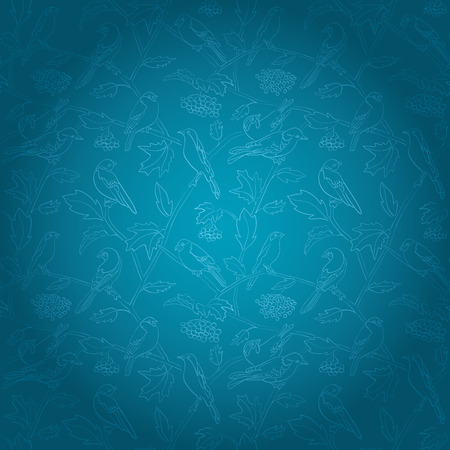 flora and fauna - rowan branches with berries and birds on blue vector background