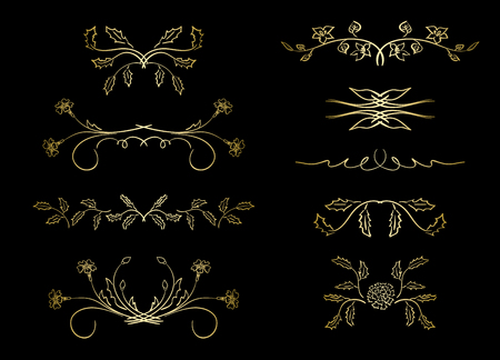 golden dividers - vector elements with flowers