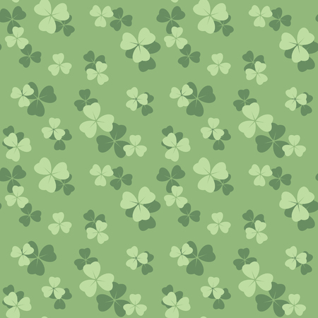 light green seamless pattern with pastel colored shamrock leaves - vector background