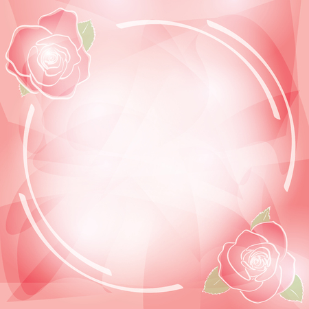 abstract pink vector background with frame and transparent red roses Illustration