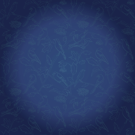 rowan branches with berries and birds on dark blue vector background with gradient