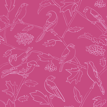 crimson vector seamless pattern with silhouettes of birds and branches Illustration