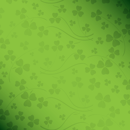 floral green saint patrick vector background with gradient and trefoil