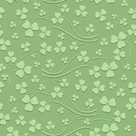 light green seamless pattern for saint patrick day - vector background with trefoil