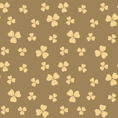 dark beige seamless pattern with light beige shamrock leaves - vector background