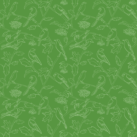 rowan branches with berries on green vector seamless pattern with silhouettes of birds