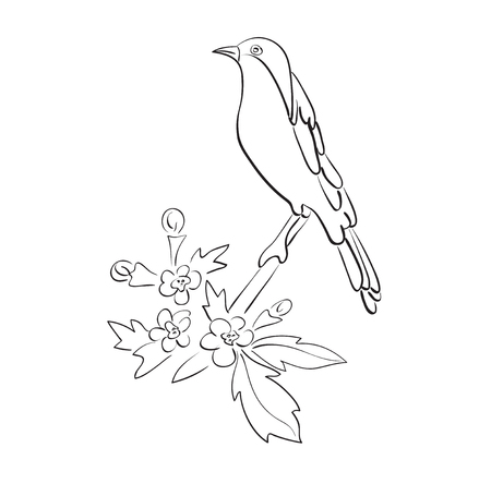 silhouette of vector bird sit on branch with flowers