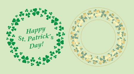 green and gold decorative round vector frames with clover for saint patrick holiday Illustration