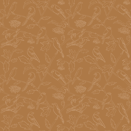 flora and fauna - rowan branches with berries and birds on brown vector seamless pattern