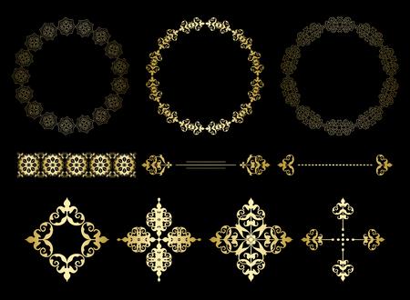 gold vector frames and vintage elements