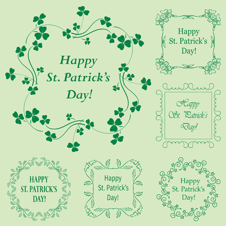 green floral vector frames with clover for saint patrick holiday