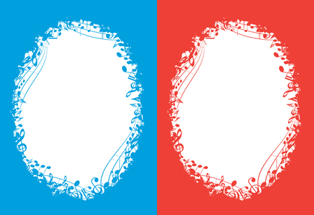blue and red vector music backgrounds with white oval center and musical notes