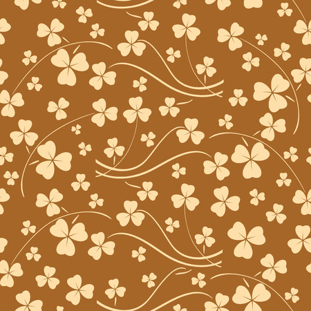 bright beige seamless pattern for saint patrick day - vector background with shamrock