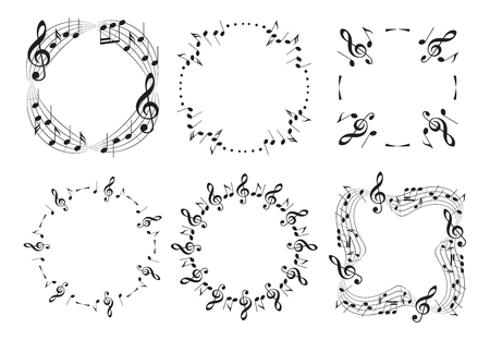 round and wavy music frames with notes - beautiful vector set  Illustration