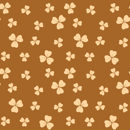 bright brown seamless pattern with light beige shamrock leaves - vector background Illustration