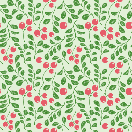 light green seamless pattern with red berries - vector floral background Illustration