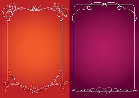 red and violet vector backgrounds with white frames and gradient Illustration
