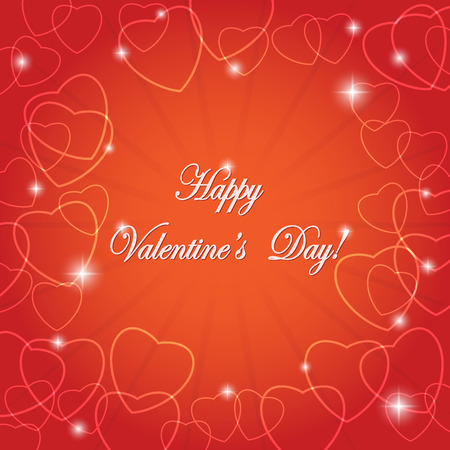 bright red vector greeting card with hearts for valentine day