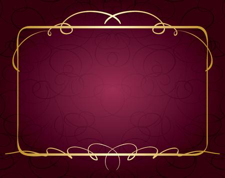 violet vector background with beautiful golden frame Illustration