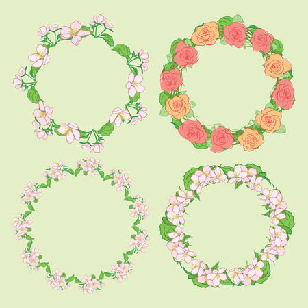 roses and apple-tree flowers in wreath - round floral vector frames  イラスト・ベクター素材