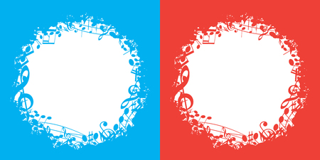 blue and red vector music backgrounds with white center and musical notes Illustration