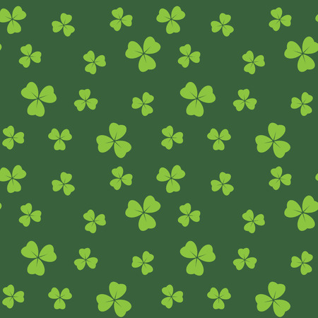 dark green seamless pattern with bright green shamrock leaves - vector background