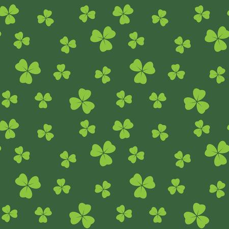 dunkelgrünes nahtloses Muster mit hellgrünen Kleeblattblättern - Vektorhintergrund