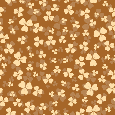 beige seamless pattern for patricks day - vector background with shamrock Illustration