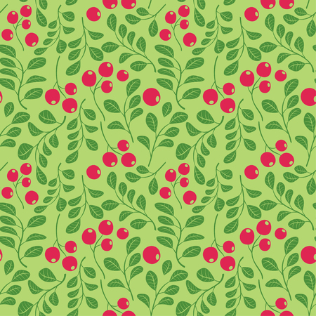 bright green seamless pattern with red berries - vector decorative background