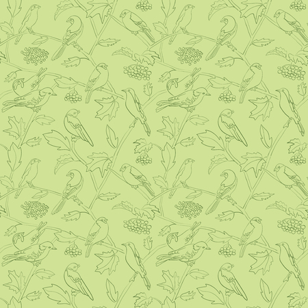 rowan branches with berries and birds on light green vector seamless floral pattern