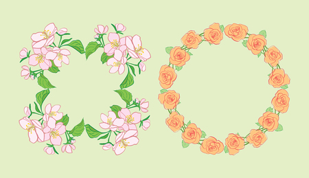 beautiful flowers in wreath - round floral vector frames