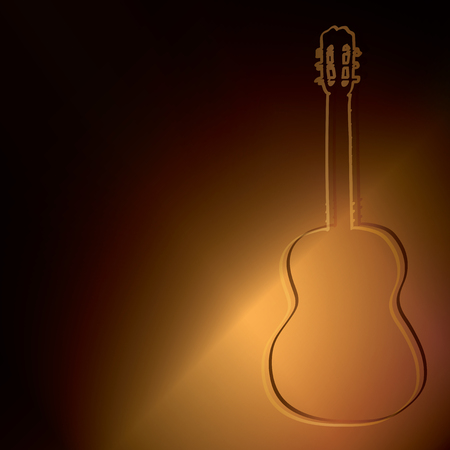 dark gold background with silhouette of guitar - vector illustration Illustration
